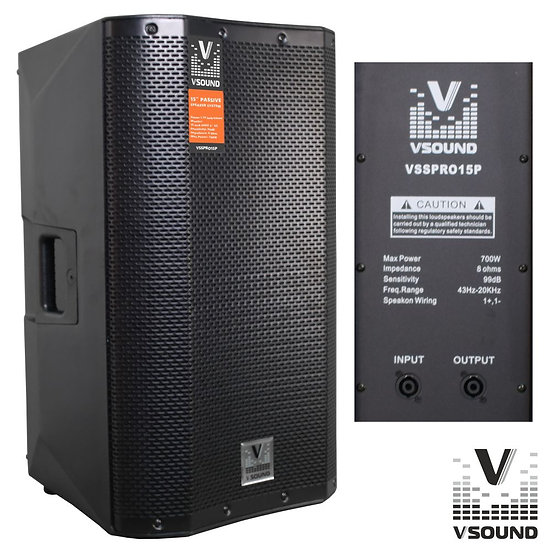 """Coluna Profissional Passiva 15"""" 700W VSOUND VSSPRO15P"""