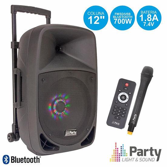 """Coluna Amplificada 12"""" 700W USB/FM/BT/SD/Bat Vhf PretaPARTY-12LED"""