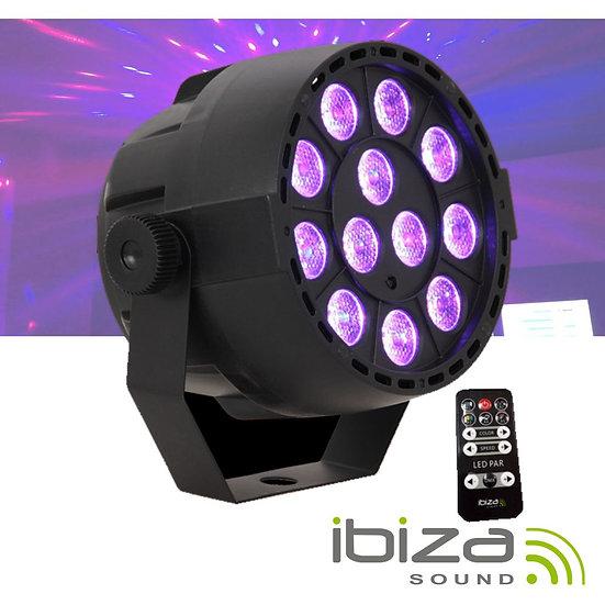 Projetor Luz C/ 12 LEDS 3W RGB Bateria Comando DMX IBIZA PARBAT-RGB3