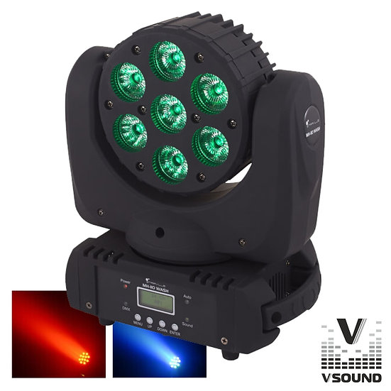 Moving Head Profissional 7 LEDS CREE RGBW 70W DMX Mic VSOUND LEDMVP710RGBW
