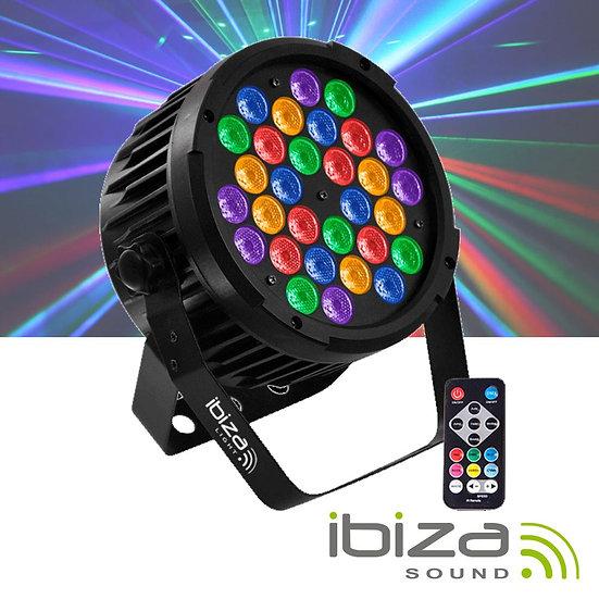 Projetor Luz C/ 30 LEDS 70W RGBa-UV DMX Comando IBIZA  PARLED-302IR
