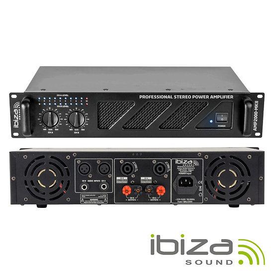 """Amplificador Áudio 19"""" 2x1500W IBIZA  AMP2000-MKII"""