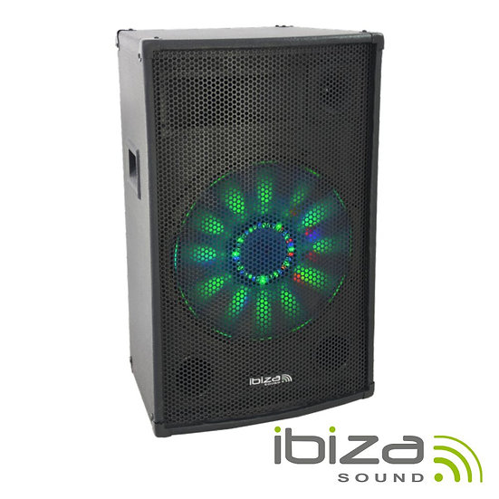 """Coluna Amplificada 15"""" 700W Preta IBIZA X-LED15"""