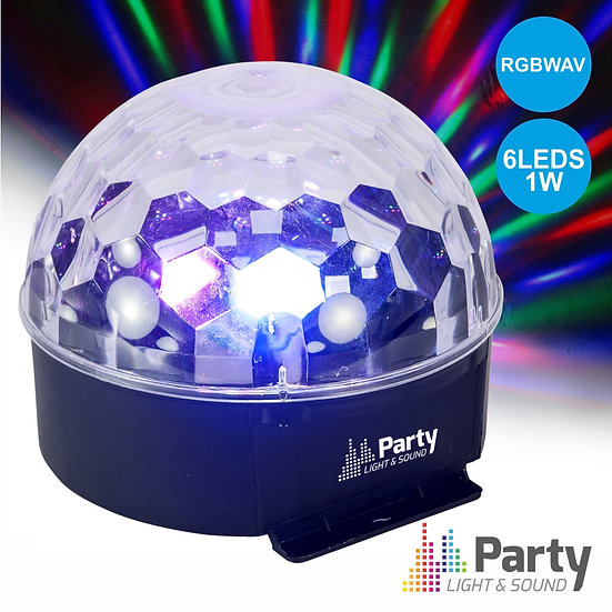 Projetor Luz C/ 6 LEDS 1W RGBWAV Mic PARTY PARTY-ASTRO6