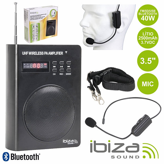 "Coluna Amplificada 3.5"" 40W USB/BT/FM/SD/Bat Preta IBIZA PORT3-UHF"
