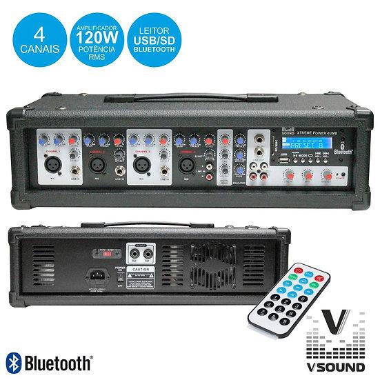 Amplificador Áudio Profissional 4 Canais 120W VSOUND  XTREME POWER 4UMB