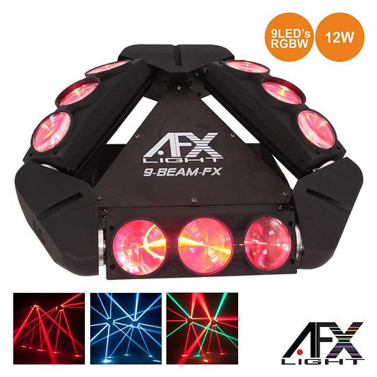 Projetor Luz C/ 9 LEDS 12W CREE RGBW 3 Barras DMX AFXLIGHT 9BEAM-FX