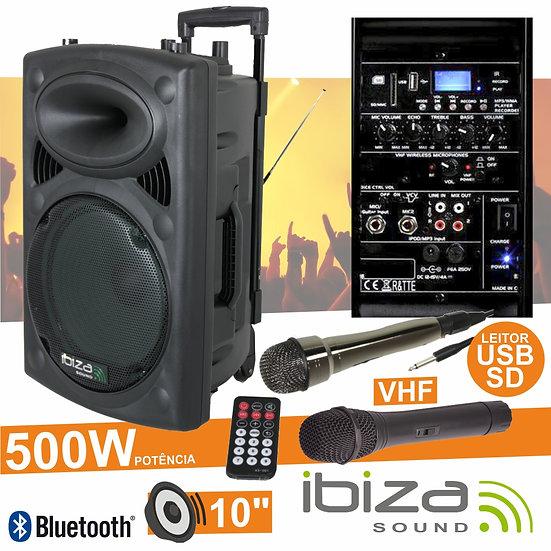 "Coluna Amplificada 10"" 500W USB/BT/SD/Bat Vhf Preta IBIZA PORT10VHF-BT"