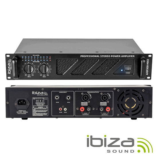 """Amplificador Áudio 19"""" 2x240W IBIZA  AMP300-MKII"""