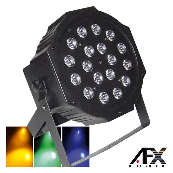 Projetor Luz C/ 18 LEDS 1W RGB DMX Mic Flat AFXLIGHT PARLED118