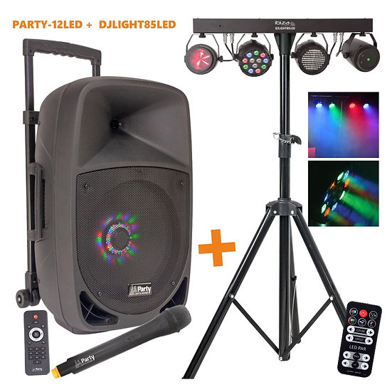 Pack PARTY-12LED + Suporte 3 Projetores e Laser DJLIGHT85LEDPARTY-12LED-PACK