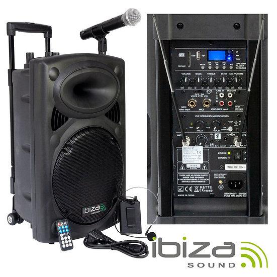 "Coluna Amplificada 12"" 700W USB/BT/SD/BAT VHF Preta IBIZA PORT12VHF-BT"