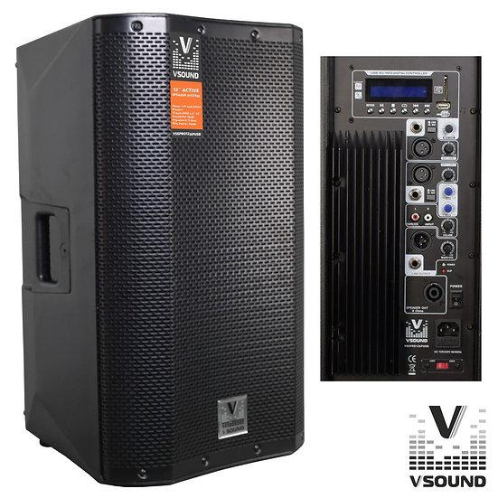 "Coluna Bi-Amplificada PRO 12"" USB/SD/FM/BT 500W VSOUND"