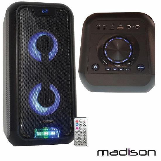 "Coluna Amplificada 2x5"" 250W FM/USB/BT/Bat LEDS MadisonMAD-HIGHPOWER300"