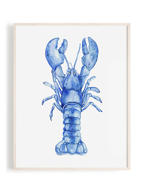 'Majestic Lobster' Art Print (Blue)