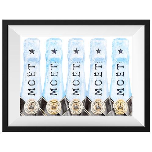 Moët Champagne Art Print - Blue