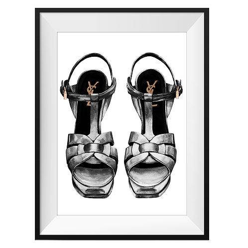 YSL Black Heels Art Print
