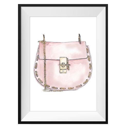 Chloe Pink Handbag Art Print