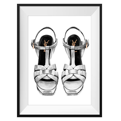 YSL Grey Heels Art Print