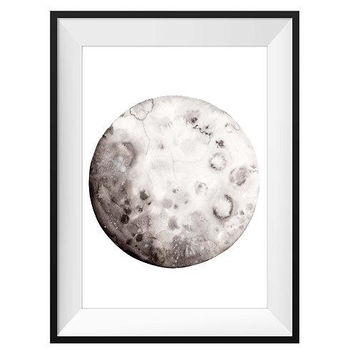 Moon Watercolor Art Print