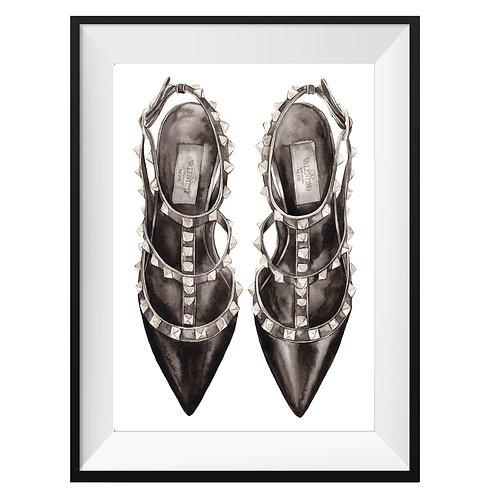 Valentino Black Heels Art Print