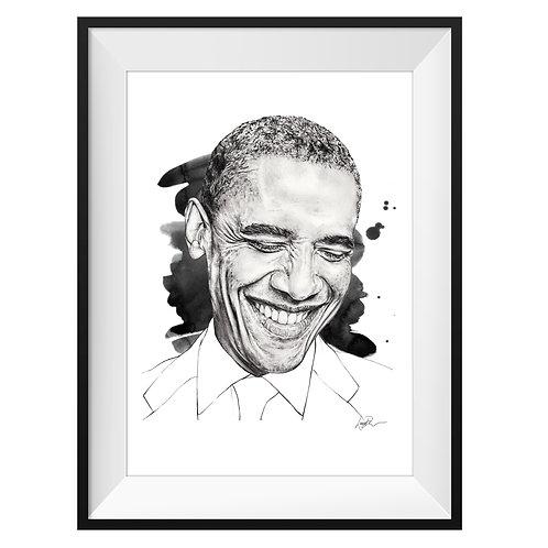 Obama Art Print - Black