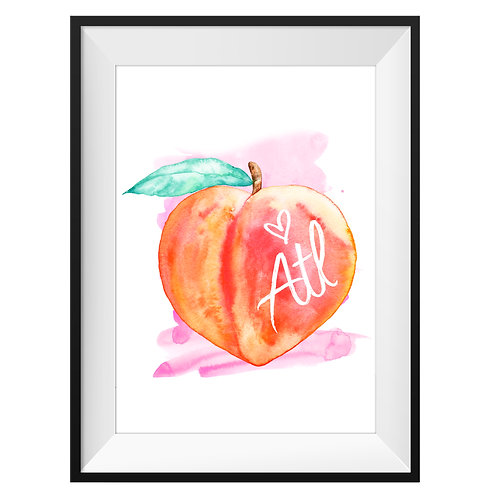 ATL Heart Peach Art Print