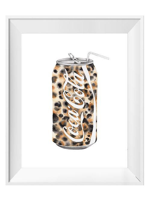 Leopard Coke Can Watercolor Art Print