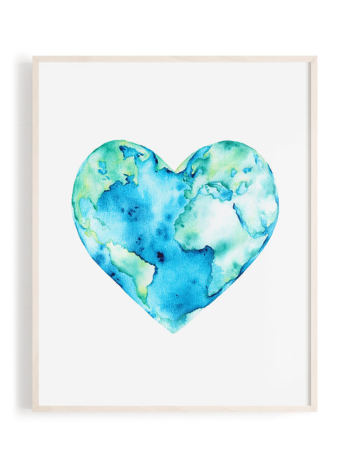 'Love Your Planet' Watercolor Art Print