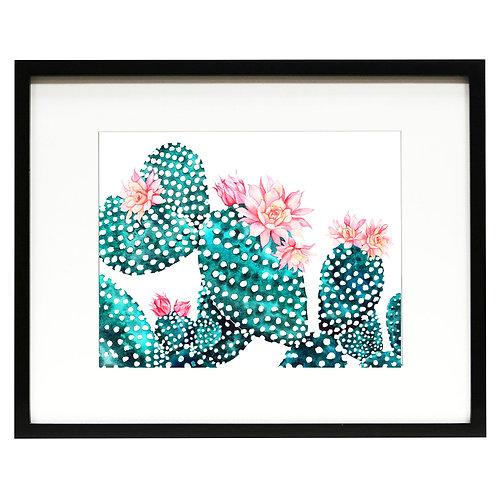 Flowering Cactus Watercolor Art Print