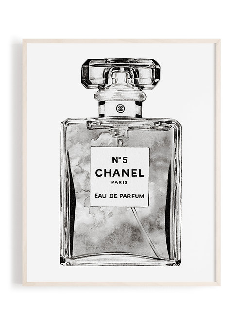 Chanel No.5 Art Print - Black + White