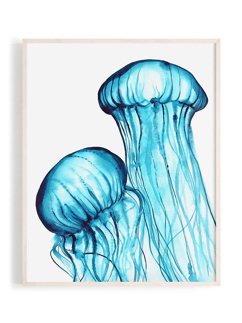 'Dancing Jellies' Art Print (Turquoise)