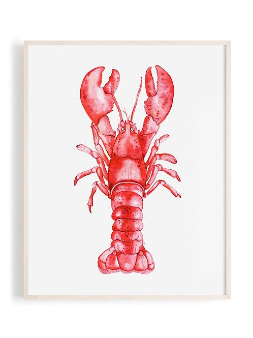 'Majestic Lobster' Art Print (Red)