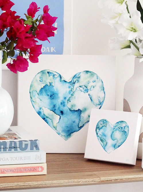 'Love Your Planet' Custom Watercolor Canvas Painting