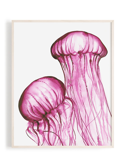 'Dancing Jellies' Art Print (Magenta)