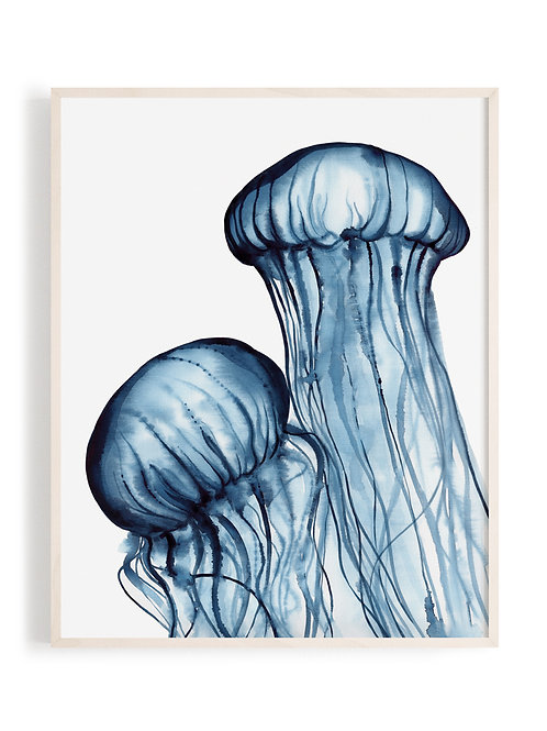 'Dancing Jellies' Art Print (Navy)