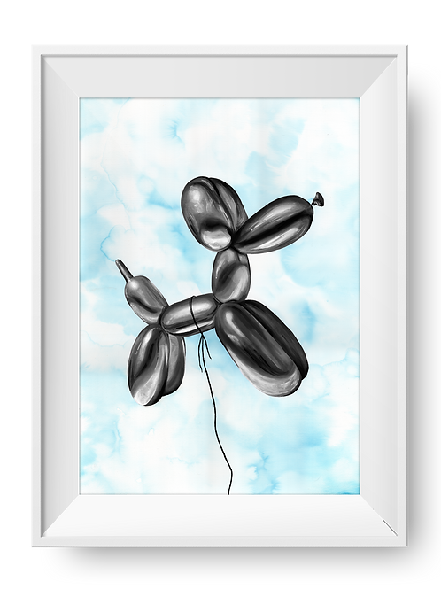 Balloon Dog Art Print - BLACK