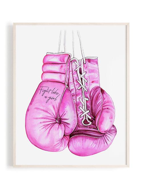 'Fight Like A Girl' Watercolor Art Print