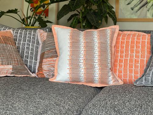original textile print sound waves in orange and grey