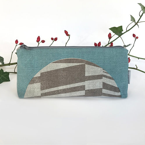 Pencil case with semi circle in blue and grey