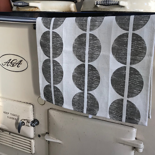 Ivory linen tea towel with Dot.line components