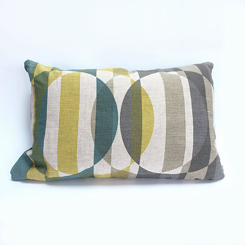 Mid-Century style oblong pillow in blue, yellow, grey