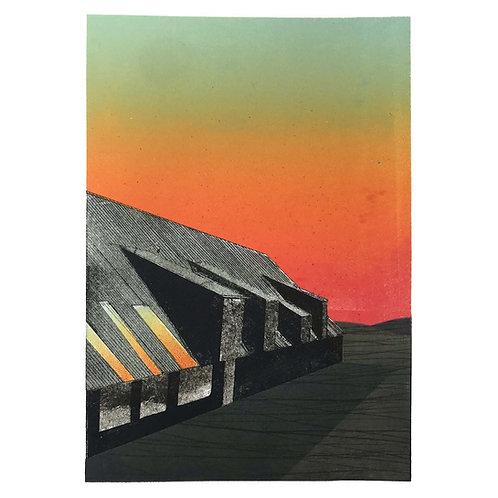 Framed monoprint 'Pewsey Hill Farm Sunset 165576'