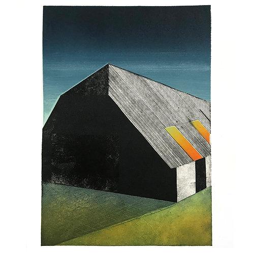 Framed monoprint '165576 (Pewsey Hill Farm)'