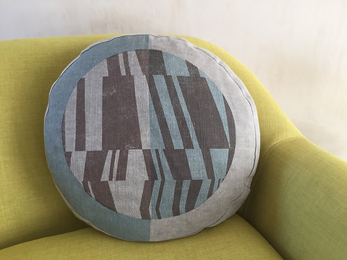 Round box cushion with 'Tectonic' two colour print on both sides