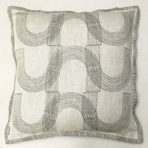 Heavy natural linen with drawn line textile print
