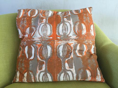 Square cushion with hand screen printed Seedhead design
