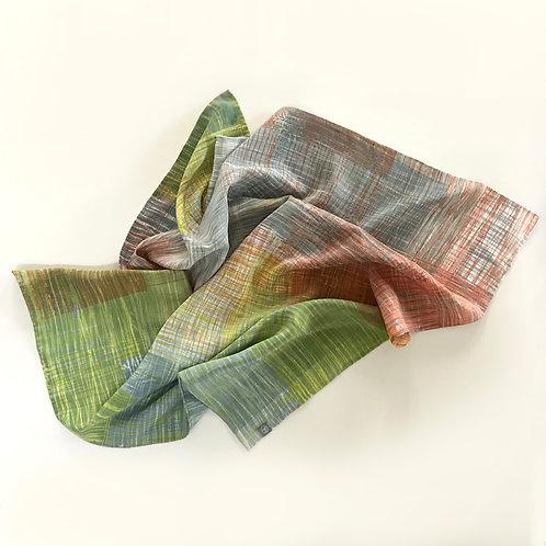 Multi-coloured silk scarf handprinted original 'Scratch' design
