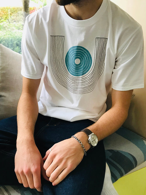 White t-shirt with U.Dot design in blue and grey