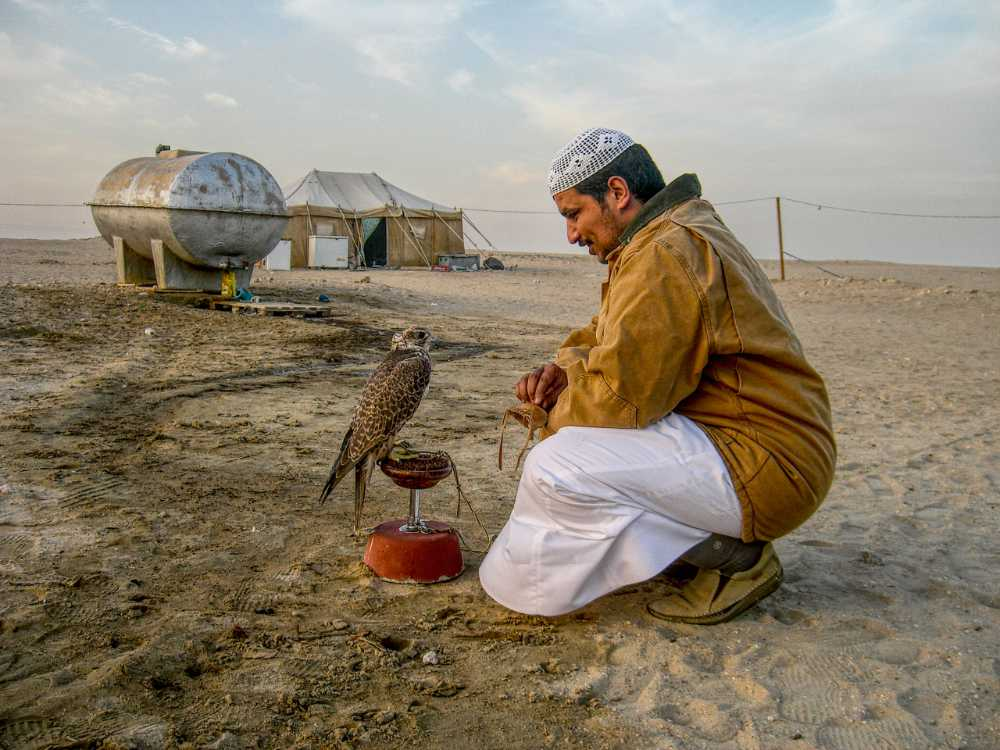 Ahmed with his falcon somewhere in the desert outside Kuwait City
